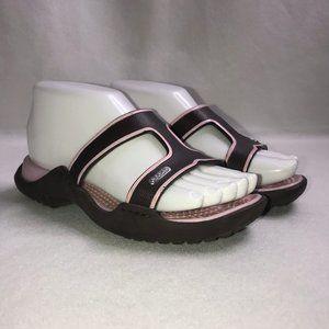 Crocs Pink Brown Wedge Slides Sandals 6